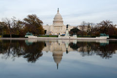 View on US Capitol at dusk. From the reflecting pool Royalty Free Stock Images