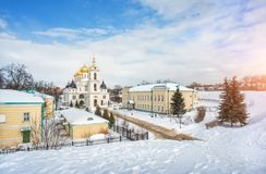 View of the Uspensky Cathedral of the Kremlin. In Dmitrov from the height of the tree on a winter frosty sunny day Stock Photos