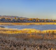 View of Utah Lake and lakeside homes nearby royalty free stock photos