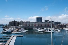 View of the V&A Waterfront, including the new Zeitz Mocaa Museum of Contemporary Art Africa, Cape Town, South Africa. View of the V royalty free stock photos