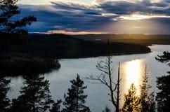 View from Vaarunvuori in Korpilahti. A view from the rocky cliffs of Vaarunvuori over the lake Päijänne in Korpilahti, near Jyväskylä in central Finland at Stock Images