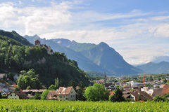 View on Vaduz castle and old town, Lichtenstein Stock Image