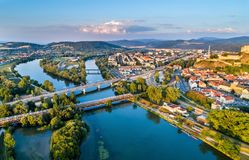 View of the Vah river at Trencin, Slovakia Stock Photos