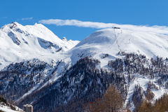 View of Val d'Iser. Val d'Isere ski area. Views of the ski slopes, France Royalty Free Stock Photography