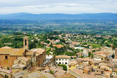 View of Val d'Orcia valley. Montepulciano Stock Photo
