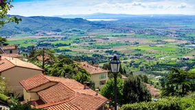 View of the Val di Chiana, in Tuscany, Italy. View of the Val di Chiana, from the roofs of Cortona , in Tuscany, Italy Stock Images
