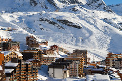 View of the Val Thorens ski resort of Three Valleys , France stock images