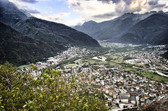 View of Valchiavenna valley, in northern Italy Royalty Free Stock Image