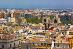 View on Valencia city from the bell tower, Spain. Stock Photography