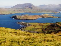 View from Valentia Island towards Cahersiveen stock images