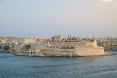 Fort St. Angelo over the Harbor. View from Valletta across the Grand Harbor to Fort St. Angelo in Birgu, Malta Royalty Free Stock Image