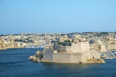 Fort St. Angelo over the Harbor. View from Valletta across the Grand Harbor to Fort St. Angelo in Birgu, Malta Royalty Free Stock Photo