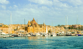 View of Valletta bay with yachts Royalty Free Stock Photo