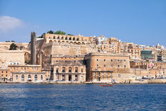 The view of Valletta capital city fortifications from the water Stock Photography