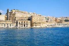 View of Valletta capital city fortifications from the water of G Stock Images