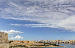 View on the Valletta city with its historic cityscape and sea Royalty Free Stock Photos