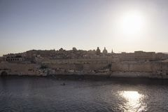 View of Valletta city in Malta. Mediterranean sea and sunny summer day Royalty Free Stock Photos