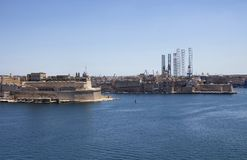 View of Valletta city in Malta. Sunny summer day and Mediterranean sea Stock Photography