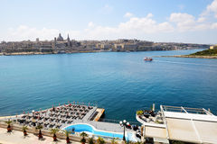 The view on Valletta and cruise yacht with tourists Royalty Free Stock Image
