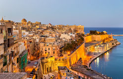 View of Valletta in the evening Royalty Free Stock Photos