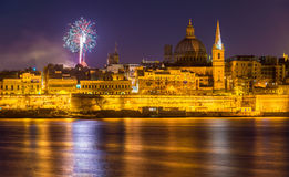 View of Valletta with fireworks on Easter 2015 Royalty Free Stock Photography