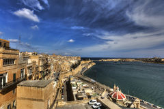 View on Valletta Grand harbor from the historic Upper Barraka garden area in Malta Stock Photos