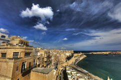 View on Valletta Grand harbor from the historic Upper Barraka garden area in Malta Royalty Free Stock Photography