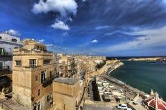 View on Valletta Grand harbor from the historic Upper Barraka garden area in Malta Royalty Free Stock Image
