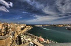 View on Valletta Grand harbor from the historic Upper Barraka garden area in Malta Stock Images