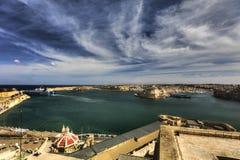 View on Valletta Grand harbor from the historic Upper Barraka garden area in Malta.  Royalty Free Stock Photo