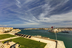 View on Valletta Grand harbor from the historic Upper Barraka garden area in Malta with historic line of cannons-Saluting Battery. View on Valletta Grand harbor Royalty Free Stock Image
