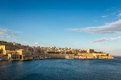 View on Valletta and Grand Harbour in the Evening Stock Photo