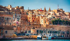 View on Valletta from The Grand Harbour Royalty Free Stock Photo