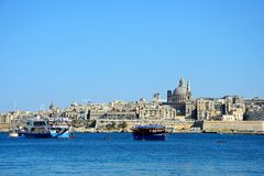 View of Valletta and the Grand Harbour, Malta. Royalty Free Stock Photography