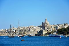 View of Valletta and the Grand Harbour, Malta. Stock Images