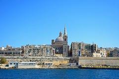 View of Valletta, Malta. View of Valletta city buildings and waterfront seen from Marsamxett Harbour, Valletta, Malta, Europe Stock Image