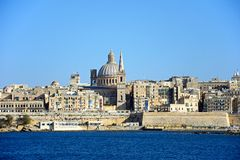 View of Valletta, Malta. View of Valletta city buildings and waterfront seen from Marsamxett Harbour, Valletta, Malta, Europe Stock Images