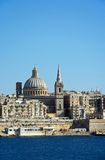 View of Valletta, Malta. View of Valletta city buildings and waterfront seen from Marsamxett Harbour, Valletta, Malta, Europe Royalty Free Stock Photo