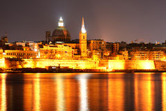 The view on Valletta in night illumination Stock Photos