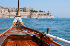 View of Valletta  from prow of the boat. View of Valletta  from prow of the traditional boat Stock Photography