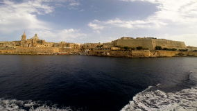 View on Valletta from the sea. View on Valletta with its architecture from the sea stock video footage