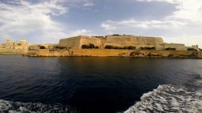 View on Valletta from the sea. View on Valletta with its architecture from the sea stock video