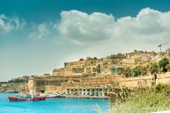 View on Valletta from the sea in Malta Royalty Free Stock Photos