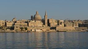 The view on Valletta in sunset. Sliema, Malta stock video