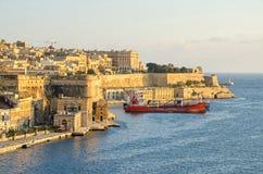 View of Valletta from the Upper Barrakka Gardens. Valletta, Malta - November 8, 2015: View of Valletta from the Upper Barrakka Gardens, with a part of its Royalty Free Stock Photos
