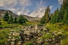 A view of a valley around The Little Shovel Pass in the Rocky Mountains stock photo