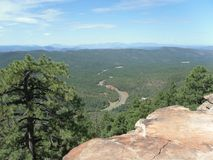 View of the valley below the Mogollon rim in central Arizona stock images