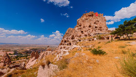 View on a valley in Cappadocia area and Uchisar castle Royalty Free Stock Images