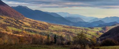 View on the valley. Carpathian valley at sunset in Ukraine Stock Image