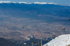 View  on a valley and chair ropeway Stock Photography